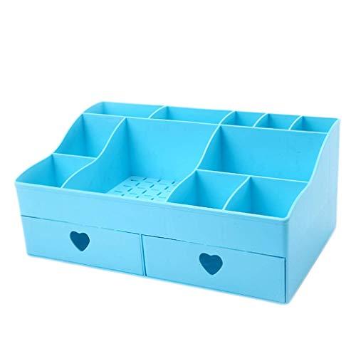 BOX Cosmétiques Boîte de Rangement En Plastique Simplicité Type de Tiroir Rouge À Lèvres Bijoux Soins de La Peau Produits Stockage Affichage Boîte 30,8 × 18,5 × 13 Cm,Bleu