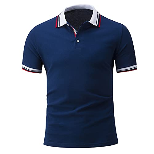 Polo Shirt Hombre Verano Moda Empalme Botón Placket Slim Fit Hombre Shirt Moderno Básico Stretch Hombre Henley Camisa Urbano Negocio Casual Golf Hombre Manga Corta