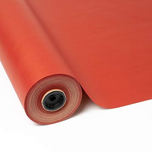 PAKOT Rollo Papel de Regalo Kraft Reciclado - Bobina Grande 70cm x 100M - Color Liso Rojo - Ecológico