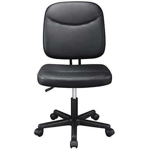 Yaheetech Bürostuhl Kunstleder Drehstuhl Schreibtischstuhl Chefsessel Computerstuhl Arbeitsstuhl Armloser Schwarz