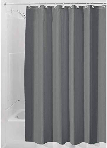 iDesign Duschvorhang aus Stoff, waschbarer Badewannenvorhang aus Polyester in der Größe 180,0 cm x 200,0 cm, wasserdichter Vorhang mit verstärktem Saum, dunkelgrau