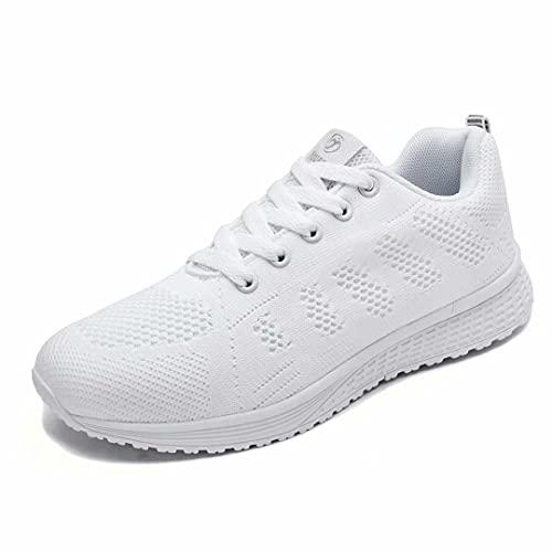 Hoylson Zapatillas de Deportivos para Mujer Running Zapatos Asfalto Ligeras Calzado Aire Libre Sneakers(Blanco, EU 40)