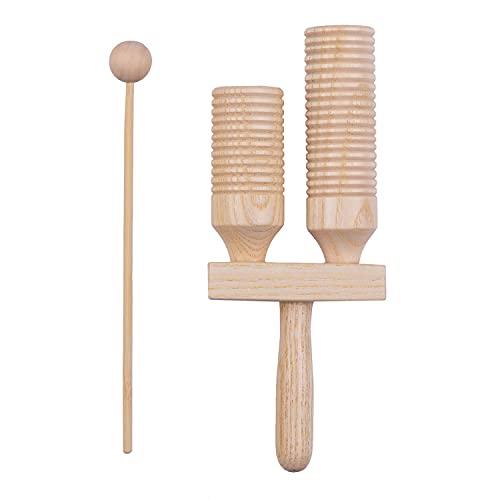 summina Percussion Holzblock 2 Ton Holz Percussion Musikinstrument Kinder Musikspielzeug mit Schlägel