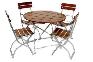 Kunibert Ensemble de jardin à bière modèle brasserie rond 1A qualité brasserie 1 table ronde 90 cm + 4 chaises