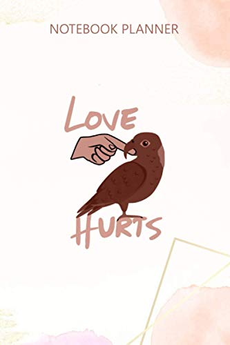 Notebook Planner Love Hurts Yellow Nape Amazon Parrot Premium: Gym, 6x9 inch, Journal, 114 Pages, Mom, Passion, Hourly, High Performance