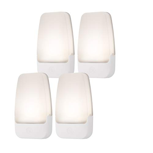 GE LED Night Light, Plug-in, Dusk to Dawn Sensor, Warm White, UL-Certified, Energy Efficient, Ideal Nightlight for Bedroom, Bathroom, Nursery, Hallway, Kitchen, 46882, 4 Pack