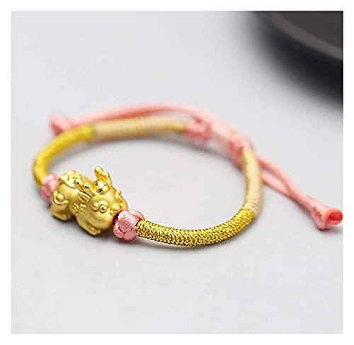Feng Shui Pixiu / Pi Yao Pulsera 999 Pure Silver Baby Pixiu engrosado 18k-oro chapado dorado rosa riqueza Pulsera amuleto para la prosperidad curación talismán atrae dinero buena suerte éxito éxito An