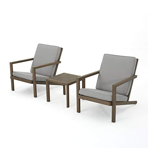Christopher Knight Home Leah Outdoor Acacia Wood Chat Set with Water Resistant Cushions, 3-Pcs Set, Grey Finish / Grey