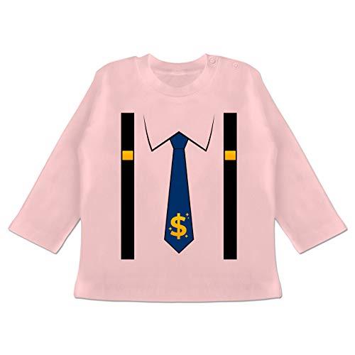 Karneval und Fasching Baby - Anzug Kostüm mit Dollarzeichen Krawatte - 3/6 Monate - Babyrosa - BZ11_Baby_Shirt_Langarm - BZ11 - Baby T-Shirt Langarm
