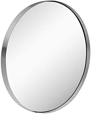 KAASUNES 28 Inch Contemporary Brushed Silver Wall Mounted Round Mirror Glass Panel Circle Deep product image