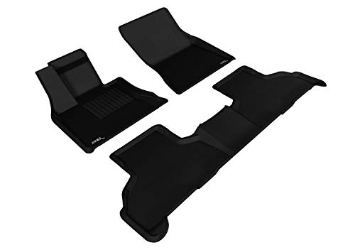 3D MAXpider L1BM05501509 All-Weather Floor Mats for BMW X5 2014 2015 2016 2016 2017 2018 / BMW X6 2015 2016 2017 2018 2019 Custom Fit Car Floor Liners, Kagu Series (1st & 2nd Row, Black)