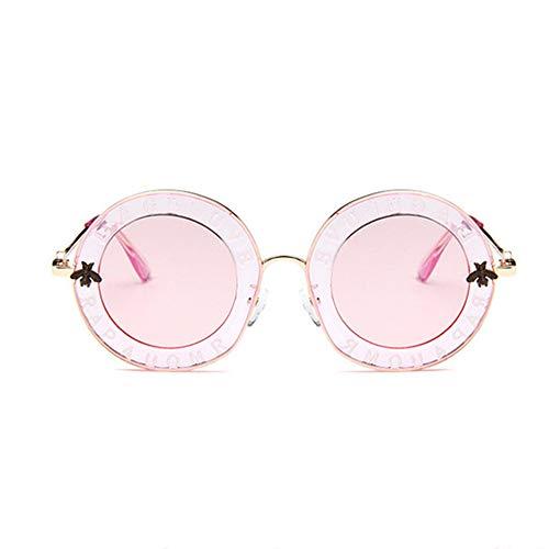 WPHH Gafas De Sol Redondas Retro para Mujer Gafas De Sol Circulares con Marco Metálico De Abeja De Lujo Gafas De Sol Femeninas De Moda Gafas De Sol Transparentes,C6