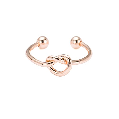 WeiVan Love Knot Ring Rose Gold Plated Copper Cuff Ring Bridesmaid Friendship Promise Ring