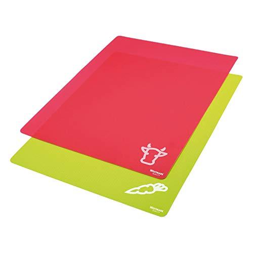 Westmark 2 Flexible Schneidmatten, für Gemüse & Fleisch, mit Aufdruck, Schneidfläche: 38 x 30,5 cm, Gripp, Rot/Grün, 11772250