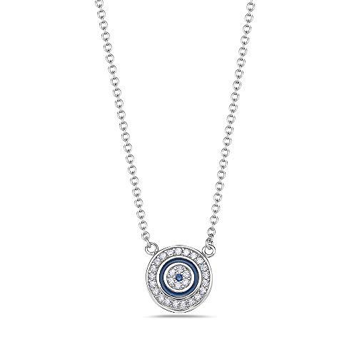 925 Sterling Silver White Blue CZ Womens Evil Eye Hamsa Round Pendant Necklace