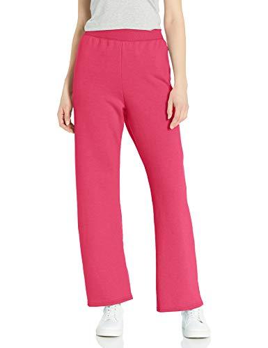 Hanes Women's EcoSmart Petite Open Bottom Leg Sweatpants, Jazzberry Pink Heather, SMALL