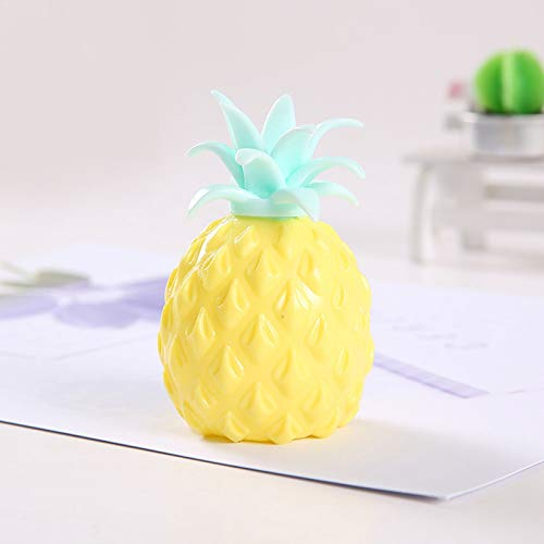 Squishy Toy Decompression Pineapple Shaped Stress Ball, Non-Toxic Sensory Toy Squish Stress Ball Color Sensory Toy, Novel Simulation Pineapple Decompression Toy Office Pressure Release Toy (Yellow)