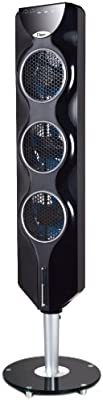"""Ozeri 3x Tower Fan (44"""") with Passive Noise Reduction Technology, Black with Chrome Accent"""