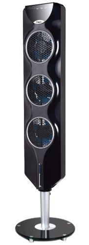 Ozeri 3x Tower Fan (44') with Passive Noise Reduction Technology, Black with Chrome Accent