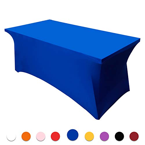 Retail Sign Systems 6 ft Spandex Tablecloths, Rectangular Stretchable Tablecloth, Polyester Table Cover for Party, DJ, Tradeshows, Vendors, Weddings - Blue