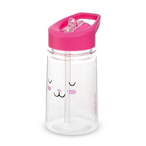 Aladdin Zoo Flip & Sip Kinder-Trinkflasche, 350ml, Rose, Motiv Hase, Kinderflasche Trinklernflasche Strohhalmflasche