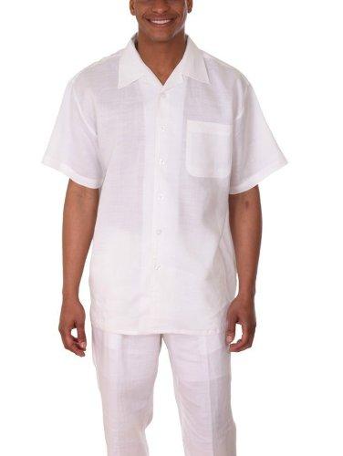 Milano Moda 100% Linen Walking Set (Shirt Sleeve Shirt and Long Pant) 2803L-White-XX-Large-42