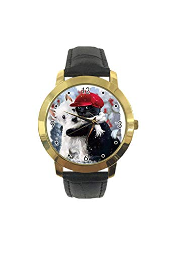 Gato negro rojo sombrero blanco perro abrazos gato personalizado moda clásico analógico reloj de...