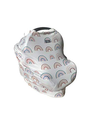 Macie Moo  Car Seat Cover amp Canopy Baby Nursing Cover for Breastfeeding Shopping Cart Cover High Chair Cover amp Germ Protector  Boho Rainbow  Soft Light Breathable Stretchy Durable Compact