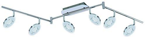 Trango 6-flg. Design LED Deckenleuchte für Wohnzimmer Küche Flur Bad WC usw. ink. 6x LED Modul 3000K Warm-Weiß TG2002-068