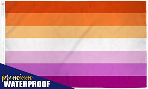 Lesbian Pride Flag - Large 5x3FT, Double Sided Print, Waterproof, Sleeve and Metal Grommets Sunset Orange and Magenta