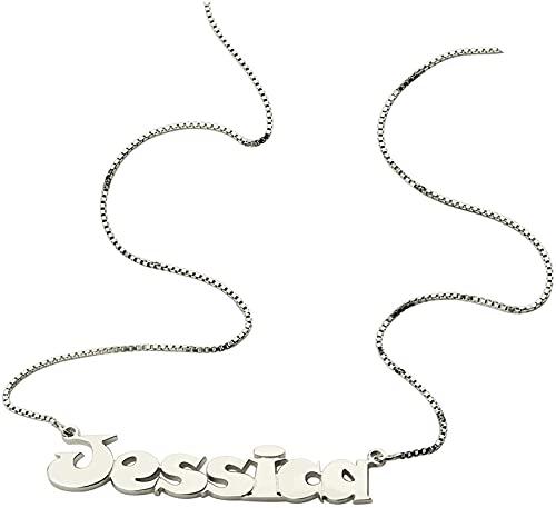 Lakabara 925 Collar de dama de plata esterlina Collar de nombre de estilo cómico Collar de placa de identificación de dama Letras de cualquier cadena de caja de nombre 14.0 Plata