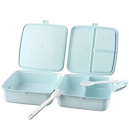 Doppel BPA freie Brotdose für Kinder Lunchbox Brotbox Snackbox mit Trennwand inkl. 2-tlg. Besteck