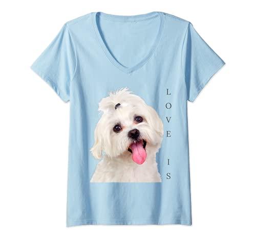 Mujer Bichon Maltesa Camisa Perro Mamá Papá Cachorro Bichon Frise Malta Camiseta Cuello V