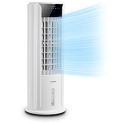 KLARSTEIN Skyscraper Horizon - Climatizador evaporativo 3 en 1: Enfriador de Aire, ventila y humidifica, 3 potencias, Panel de Control Touch, 60 W, Depósito Agua: 3,5 L, función oscilación, Marfil