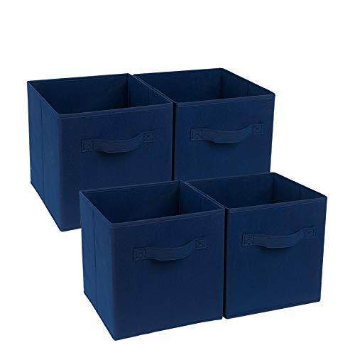 4-Cube Heavy Duty Storage Container, Zonyon Foldable Fabric Storage Cube,Basket,Bookshelf Organizer,Nursery Hamper with Handle for Women,Men,Kids,Toys,Bedroom,Closet,Office,11''X11''11'',Navy Blue