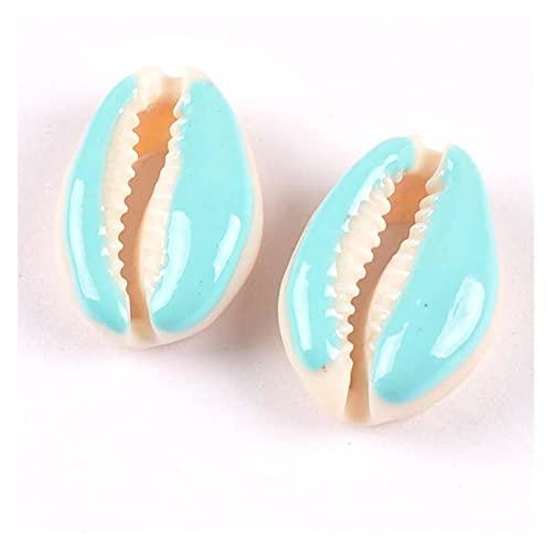 FORETTY KWF728 10 unids Cortones de Corte Natural Esmalte Seashell Conch Beads Joyería Tribal Accesorios artesanales Hechos a Mano DIY 16-2 0mm Bricolaje Hecho a Mano (Color : Lake Blue)