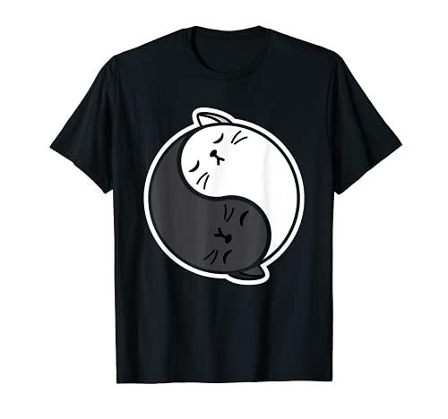 Yin y Yang Gatos Kitty Yoga Kawaii Karma Miau Espiritualidad Camiseta