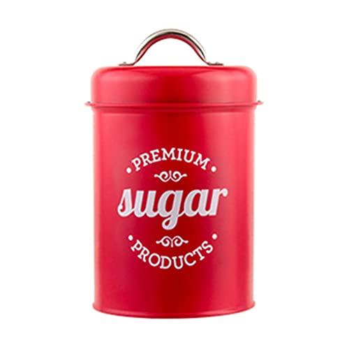 KunmniZ Rojo hierro forjado té lata caramelo azúcar bol lata lata café contenedor caja tanque hogar ahorro de espacio decoración hogar almacenamiento gestión accesorios