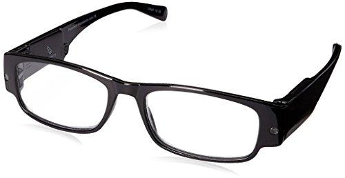 Foster Grant mens Lloyd Lightspecs Lighted Glasses Reading Glasses, Black/Transparent, 59 mm US