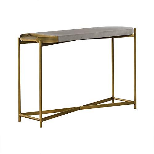 Armen Living Dua Console Table, 4.72' W, Medium Grey Concrete top/Antique Brass Metal