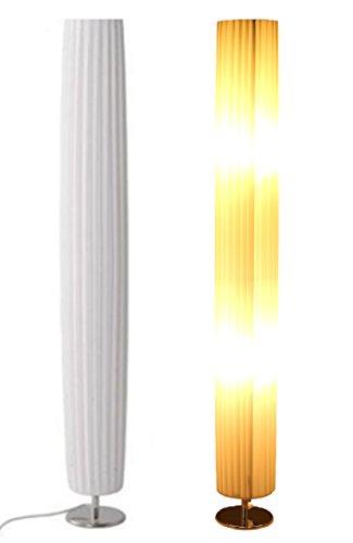 Trango 120R Design Plissee Stehleuchte *Nizza* in Rund Stehlampe, Wohnzimmer Lampe, Leuchte, Standleuchte - Durchmesser: 14cm Ø - H: 120cm
