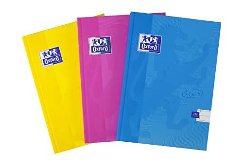 Oxford Touch - Quaderni con copertina rigida, 192 pagine, 5 pezzi, colori assortiti Confezione da 3 A5