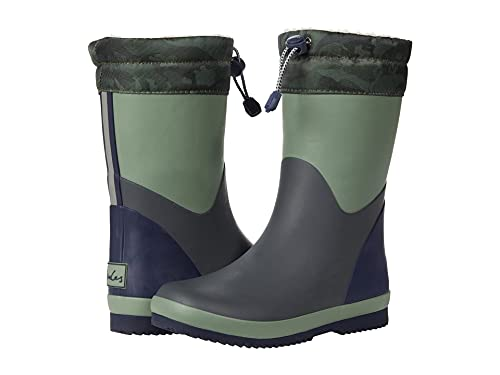 Joules Boy's Rainboots Rain Boot, Khaki Green, 4 Big Kid