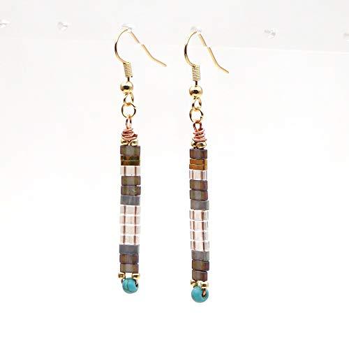 feichang Boho Earings Joyería 2020 Pendientes largos de moda con gancho para la oreja, regalo de joyería bohemia (color metal: TL E200007A)