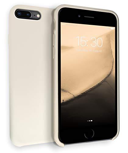 MyGadget Funda para Apple iPhone 7 Plus / 8 Plus - Soft Touch Case Antigolpes - Carcasa Protectora con Acabado en Silicona y Protección Interna - Crema