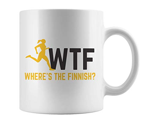 WTF Where Is The Finish Line Mug - Funny Cool Fitness Running Present Idea For Gym Athlete And Runner Athletes Who Love To Jog Exercise And Train Jogging To Be Fit! Great For Runners Trainers Who Run