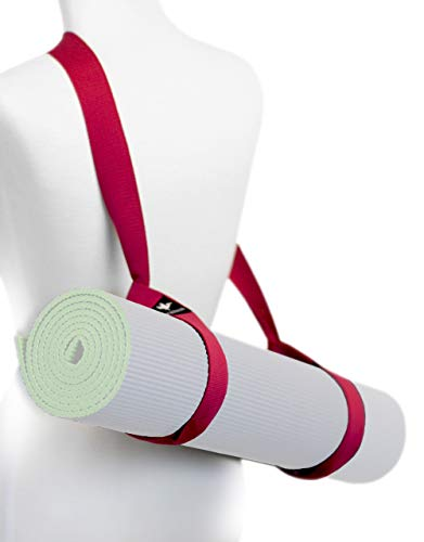 Yoga Mat Sling Carry Strap – Adjustable, Durable, Cotton (Red)