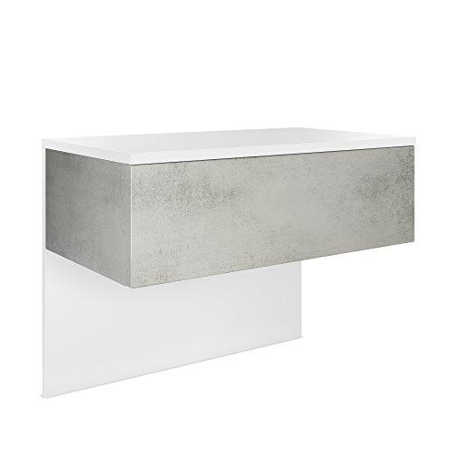 Vladon Nachttisch Nachtkonsole Sleep, Korpus in Weiß matt/Front und Seiten in Beton Oxid Optik