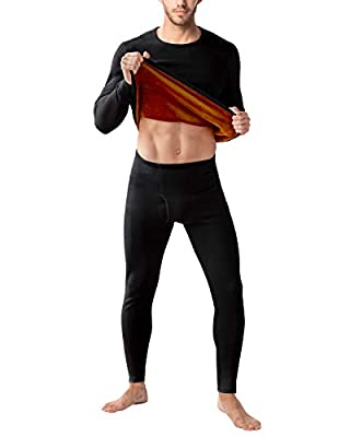 LAPASA Men's Ultra Heavyweight Thermal Underwear Double Layer Long John Set Fleece Lined Base Layer Top and Bottom M63 (Medium, Black)