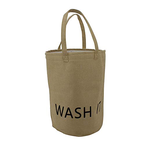YRHOME Laundry Basket Collapsible Fabric Laundry Hamper Foldable Clothes Bag Washing Bin with Durable Handles Khaki